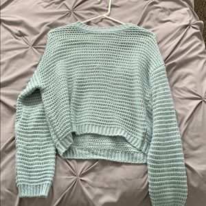 Blue Cropped Knit Forever21 Sweater